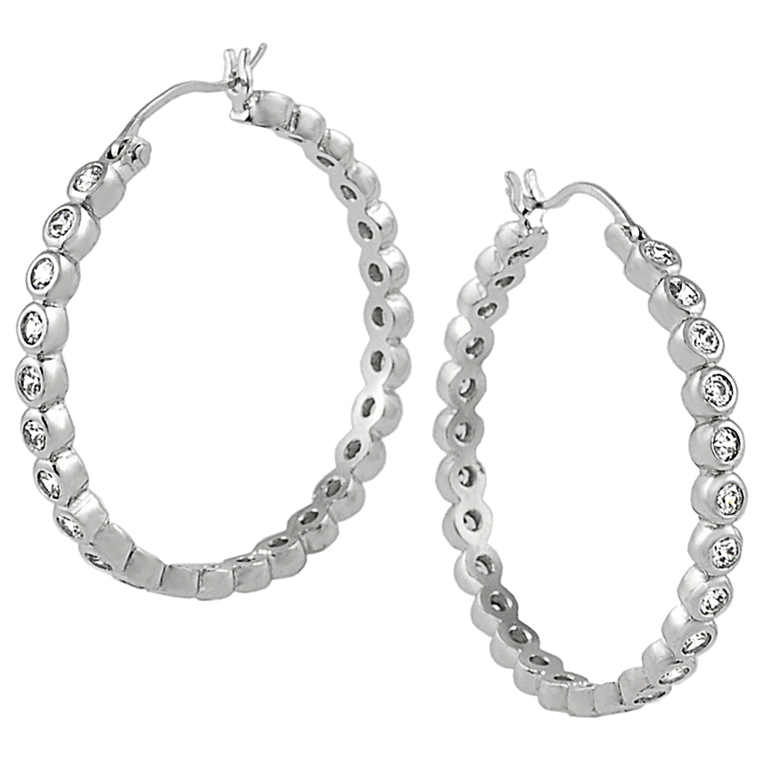 Tressa Collection Sterling Silver Cubic Zirconia Hoop Earrings