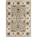 Handmade Kerman Light Blue/ Ivory Gold Wool Rug (2' x 3')