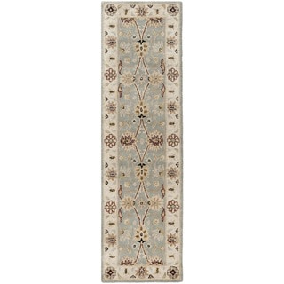 Handmade Kerman Light Blue/ Ivory Gold Wool Rug (2'3 x 10')