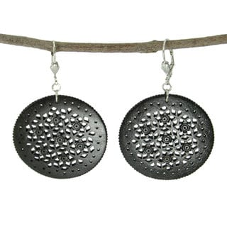 Hand-carved Black Lacy Round Bone Earrings (India)
