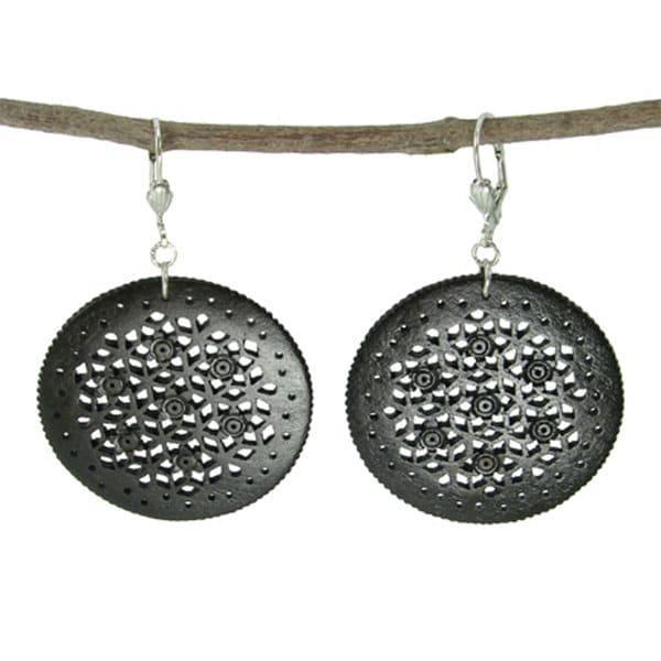 Hand-carved Black Round Lacy Bone Earrings (India)