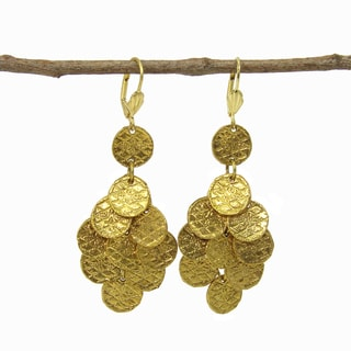 Handmade Goldtone Stamped Disk Chandelier Earrings (India)