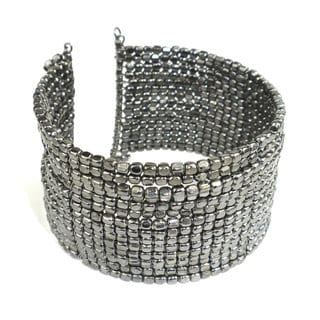 Handmade Gunmetal Grey Cubist Beaded Cuff (India)