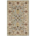 Handmade Kerman Light Blue/ Ivory Gold Wool Rug (4' x 6')