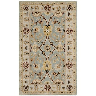 Safavieh Handmade Kerman Light Blue/ Ivory Gold Wool Rug (4' x 6')