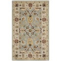 Handmade Kerman Black/ Ivory Gold Wool Rug (8'3 x 11')