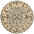 Safavieh Handmade Kerman Light Blue/ Ivory Gold Wool Rug (3'6 Round)