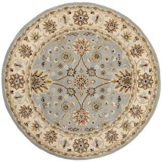 Handmade Kerman Light Blue/ Ivory Gold Wool Rug (8' Round)