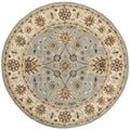 Handmade Kerman Light Blue/ Ivory Gold Wool Rug (8' Round)