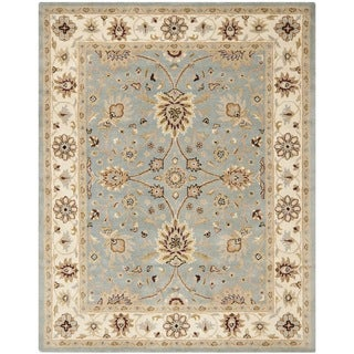 Handmade Kerman Light Blue/ Ivory Gold Wool Rug (5' x 8')
