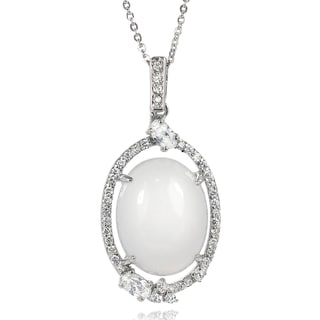 Tressa Collection Sterling Silver Faux Moonstone and Cubic Zirconia Necklace