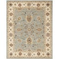 Handmade Kerman Light Blue/ Ivory Gold Wool Rug (7'6 x 9'6)