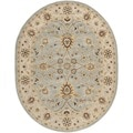 Handmade Kerman Light Blue/ Ivory Gold Wool Rug (7'6 x 9'6 Oval)