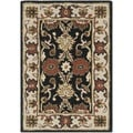 Handmade Kerman Black/ Ivory Gold Wool Rug (2' x 3')