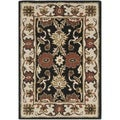 Handmade Kerman Black/ Ivory Gold Wool Rug (2'3 x 4')