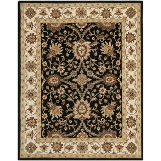 Handmade Kerman Black/ Ivory Gold Wool Rug (5' x 8')