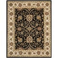 Handmade Kerman Black/ Ivory Gold Wool Rug (6' x 9')