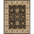 Handmade Kerman Black/ Ivory Gold Wool Rug (7'6 x 9'6)
