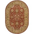 Handmade Kerman Rust/ Gold Wool Rug (4'6 x 6'6 Oval)