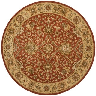Handmade Kerman Rust/ Gold Wool Rug (6' Round)