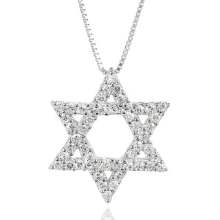 Journee Collection Sterling Silver Cubic Zirconia Star of David Necklace