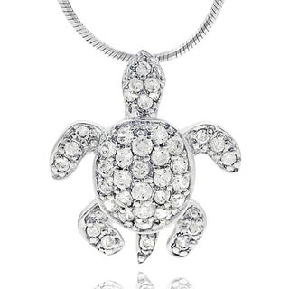 Tressa Collection Sterling Silver Pave Cubic Ziconia Turtle Necklace