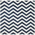 Safavieh Handmade Moroccan Chatham Chevron Dark Blue Wool Rug (5' Square)