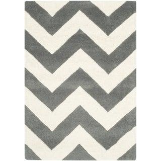 Safavieh Handmade Moroccan Chatham Chevron Dark Grey Wool Rug (3' x 5')