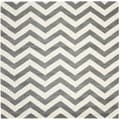 Safavieh Handmade Moroccan Chatham Chevron Dark Grey Wool Rug (5' Square)