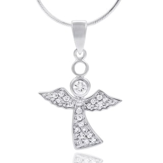 Tressa Collection Sterling Silver Pave Cubic Zirconia Angel Necklace