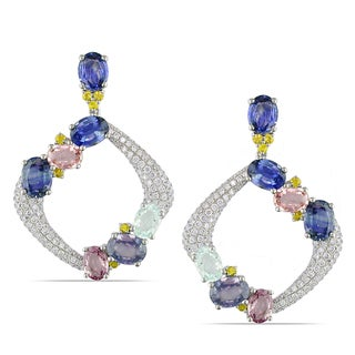 Miadora 14k Gold Multi-gemstone and 2 1/2ct TDW Diamond Earrings (G-H, SI1-SI2)