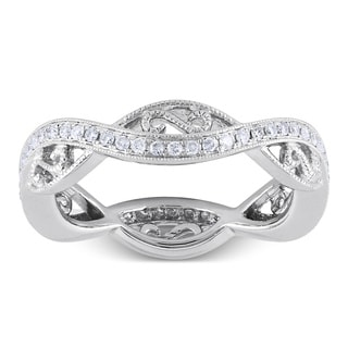 Miadora 14k White Gold 1/3ct TDW Diamond Eternity Ring (G-H, SI1-SI2)