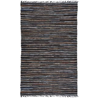 Hand-Woven Matador Brown Stripe Leather Rug (8' x 10')