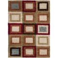 Woven Contemporary Cartagena Multi Coloredcolor Geometric Shag Rug-(5&#39;3 x 7&#39;3)
