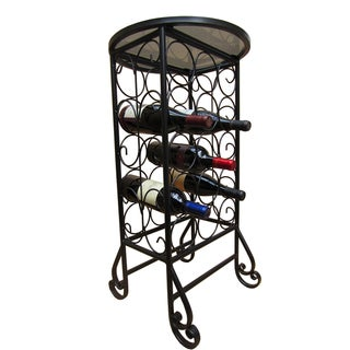 15-bottle Glass Top Iron Wine Rack