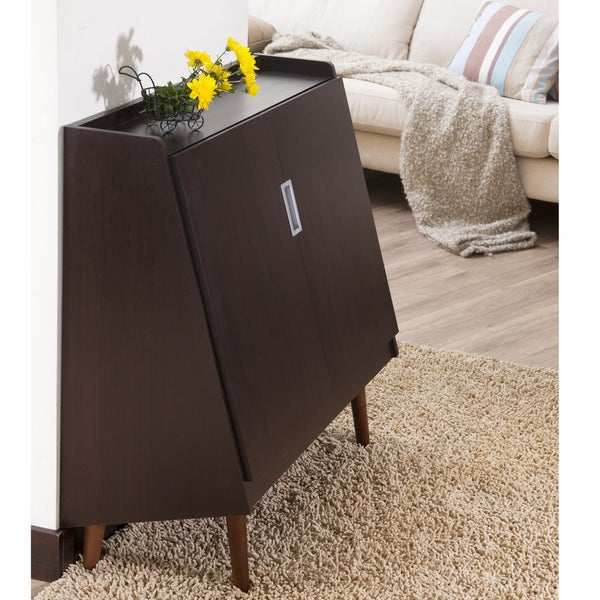 Furniture of America Trapezy Walnut Multi-purpose Storage Cabinet