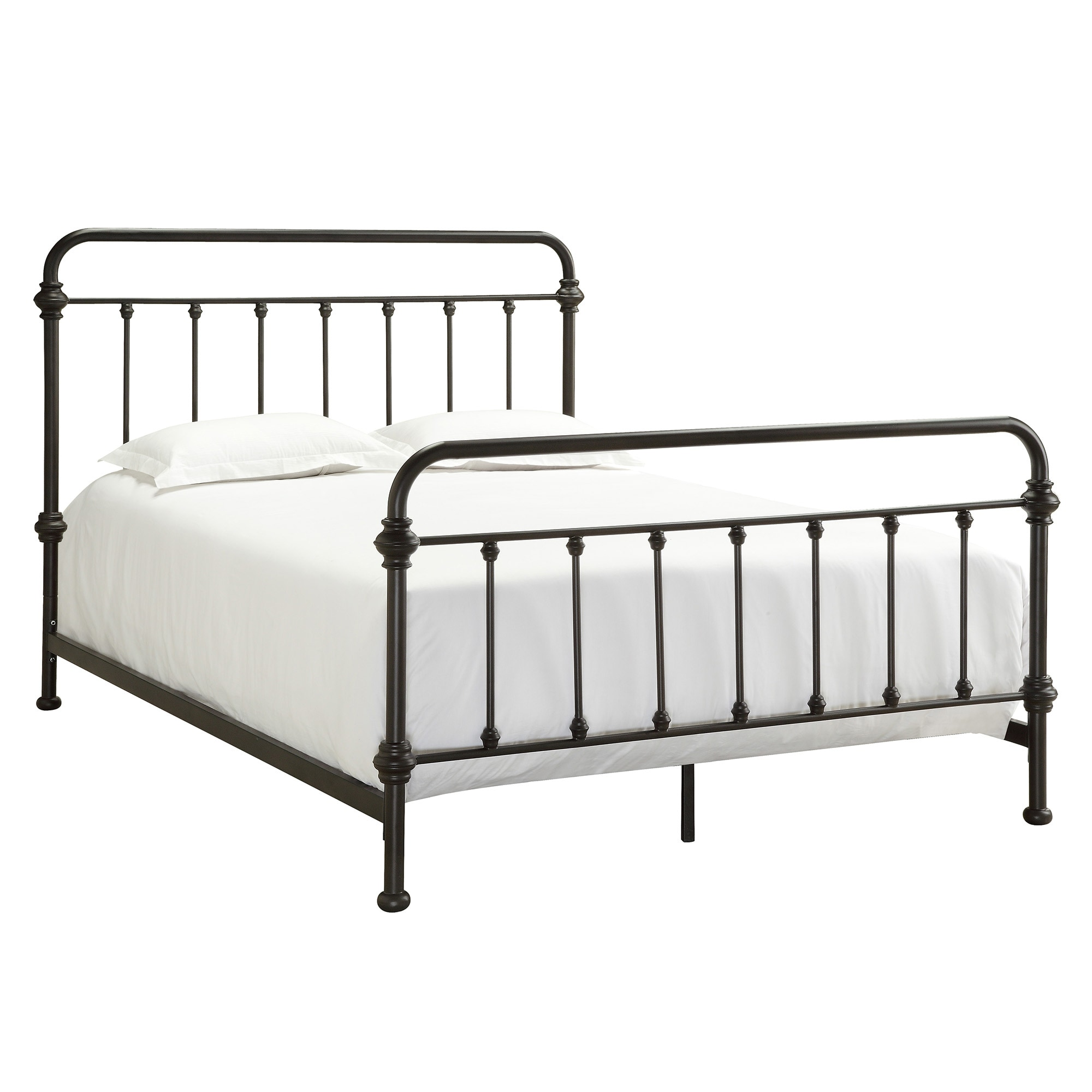 Metal Bed Frame Queen Iron Antique Victorian Style Dark