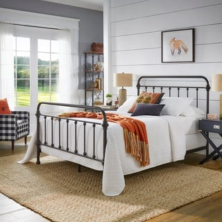 Tribecca Home Giselle Antique Dark Bronze Graceful Lines Victorian Iron Metal Bed