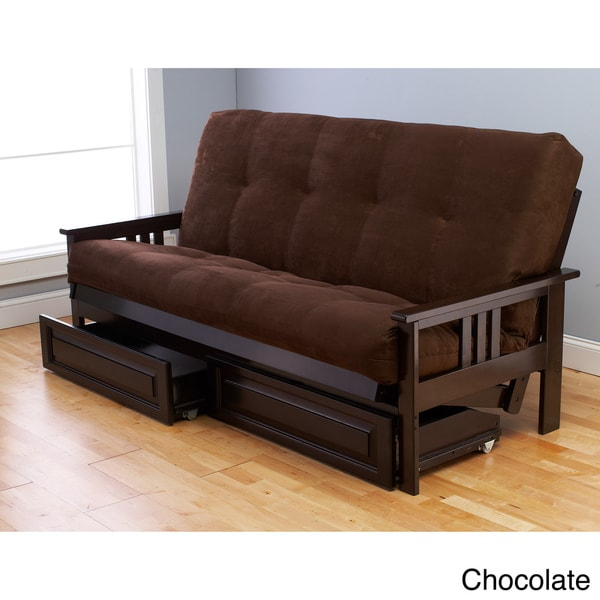 Somette Beli Mont Espresso Wood Storage Futon with Mattress