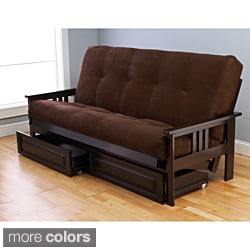 Beli Mont Espresso Wood Storage Futon with Mattress