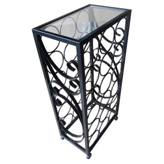 18-Bottle Wine Rack with Square Glass Table Top
