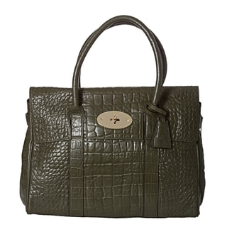 Mulberry 'Bayswater' Olive Leather Croc-embossed Satchel