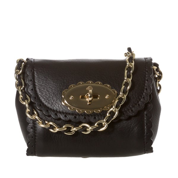 Mulberry 'Cookie' Mini Black Leather Scalloped Crossbody Bag