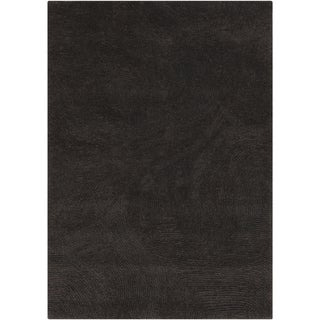 Hand-woven Casual Nationals Black Solid Wool Rug (2' x 3')