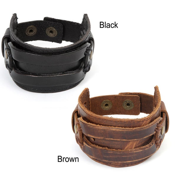 Distressed Leather Men's Rectangle Stitch Detail Bracelet