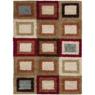 Meticulously Woven Contemporary Cartagena Multi Colored Geometric Shag Rug (7'10 x 9'10)