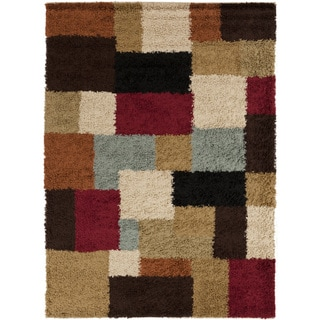 Meticulously Woven Contemporary Cali Multi Colored Geometric Shag Rug (7'10 x 9'10)