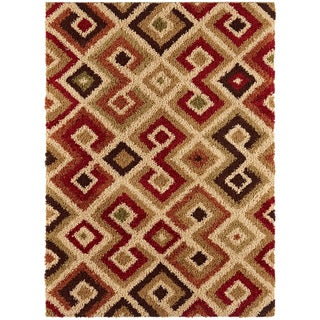 Contemporary Pereira Multi Colored Geometric Shag Rug (7'10 x 9'10)
