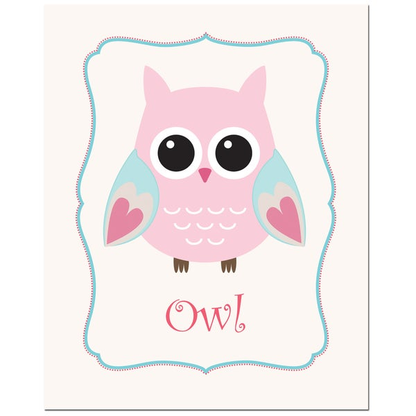 Light Pink Solid Color Owl in Frame Art Print