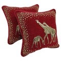 Blazing Needles Chenille Corded Giraffes Throw Pillows (Set of 2)